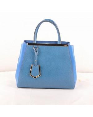 Fendi 2jours Blue Cross Veins With Navy Blue Ferrari Leather Small Bag