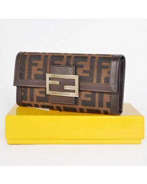 Fendi Coffee Leather with F Fabric Long Wallet