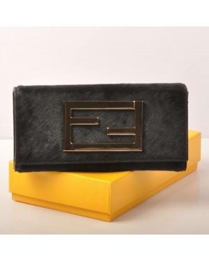 Fendi Black Horsehair Leather Long Wallet