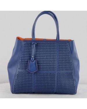 Fendi 2Jours Blue Saffiiano Leather Clinch Bolt Bag