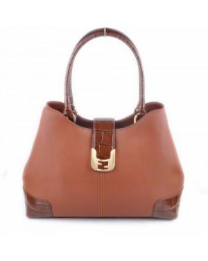 Fendi Chameleon Coffee Ferrari Leather/Crocodile Veins Leather Tote Bag