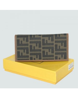 Fendi Yellow Calfskin Leather With F Fabric Wallet