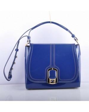 Fendi Blue Patent Leather Messenger Bag