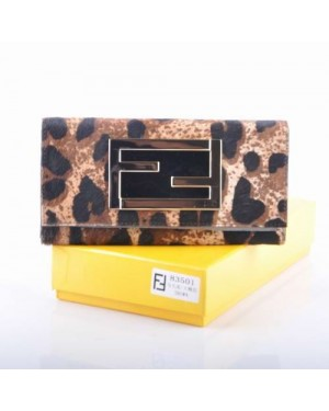 Fendi Coffee Plum Blossom Pattern Horsehair Leather Long Wallet