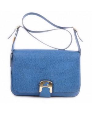 Fendi Chameleon Blue Caviar Leather Medium Saddle Messenger Bag