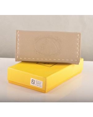 Fendi Silver Grey Calfskin Leather Long Wallet