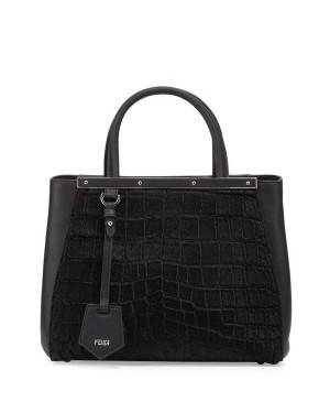 Fendi 2Jours Petite Croc-Embossed Calf Hair Tote Bag Black