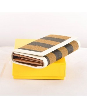 Fendi White Leather with Striped Fabric Long Wallet