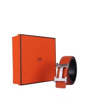 Hermes calf leather men H belt 138 silver/Orange