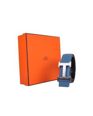 Hermes calf leather men H belt 138 silver/Blue