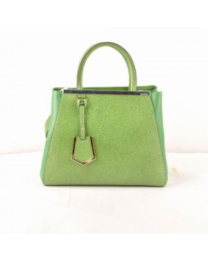 Fendi 2jours Green Cross Veins With Grass Green Ferrari Leather Small Bag