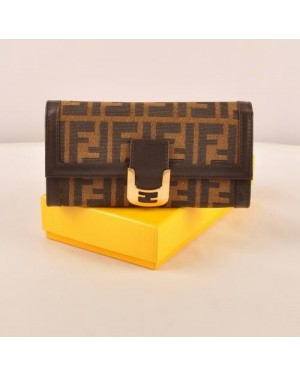 Fendi Coffee F Fabric Long Wallet