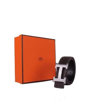 Hermes calf leather men H belt 138 silver/dark coffee