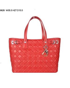 Dior Panarea Large Shoulder Bag Red Lambskin Leather (Golden Hardware) 9626