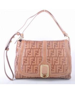 Fendi Light Coffee Embossed Leather Messenger Bag