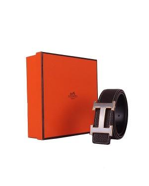 Hermes calf leather men H belt 138 gold/silver/dark coffee