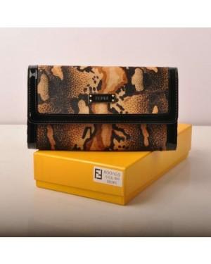 Fendi Coffee Horsehair Leather Wallet