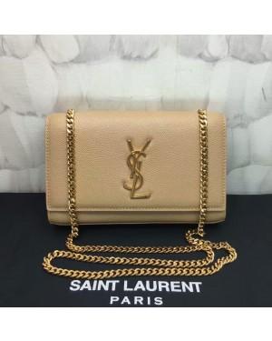 YSL Caviar Leather Chain Bag 22cm Apricot Gold