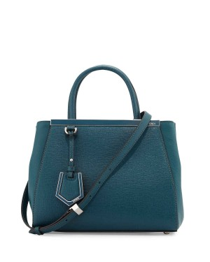 Fendi 2Jours Medium Leather Tote Bag Ocean