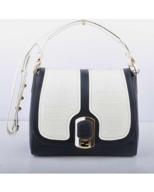 Fendi White Crocodile Veins Leather With Black Ferrari Leather Messenger Bag