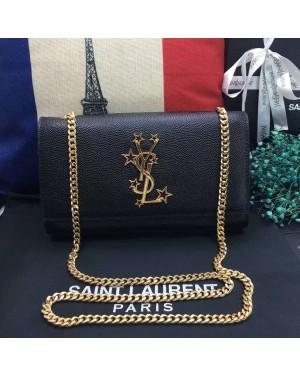 New YSL Chain Bag 24cm Caviar Leather Black