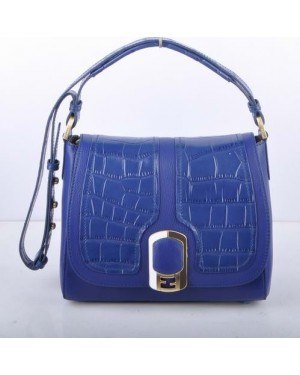 Fendi Blue Crocodile Veins Leather With Ferrari Leather Messenger Bag