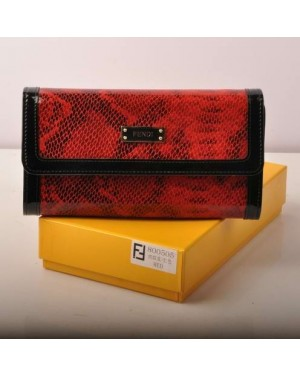 Fendi Red Snake Veins Leather Long Wallet