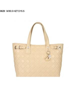 Dior Panarea Large Shoulder Bag Apricot Lambskin Leather (Golden Hardware) 9626