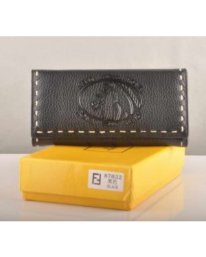 Fendi Black Calfskin Leather Long Wallet