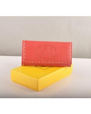 Fendi Light Red Calfskin Leather Long Wallet