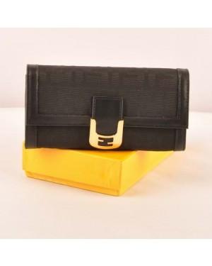 Fendi Black F Fabric Long Wallet