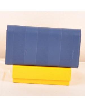 Fendi Blue Soft Calfskin Leather Long Wallet