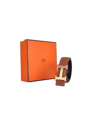 Hermes calf leather men H belt 138 gold/Light coffee