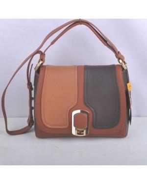 Fendi Coffee/Dark Coffee/Orange Original Leather Messenger Bag