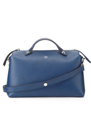 Fendi By The Way Leather Satchel Bag Blue Royal
