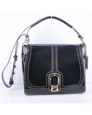 Fendi Black Patent Leather Messenger Bag