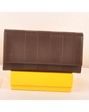 Fendi Coffee Soft Calfskin Leather Long Wallet