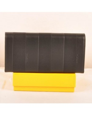Fendi Black Soft Calfskin Leather Long Wallet