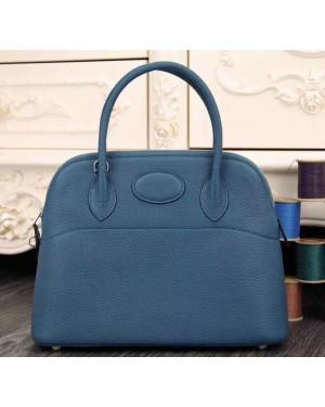 Hermes Bolide 31cm Togo Leather Blue Bag