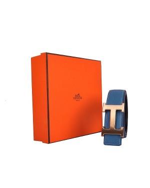Hermes calf leather men H belt 138 gold/Blue