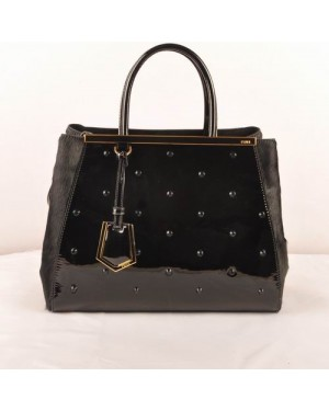 Fendi 2jours Black Patent Leather With Horsehair Leather Medium Bag