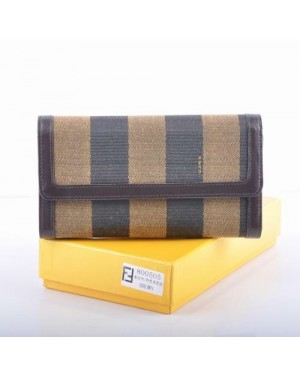 Fendi Coffee Leather with Striped Fabric Long Wallet