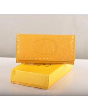 Fendi Yellow Calfskin Leather Long Wallet