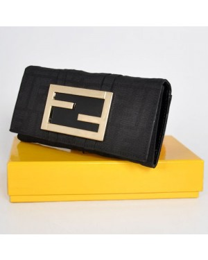 Fendi Black Patent Leather Long Wallet