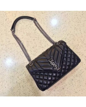 Top Quality YSL Envelope Shoulder Bag 23cm Black
