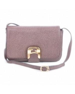 Fendi Chameleon Dark Coffee Caviar Leather Small Saddle Messenger Bag