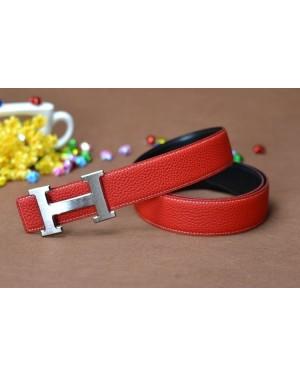 Hermes Calf Leather Men H Belt Red Silver