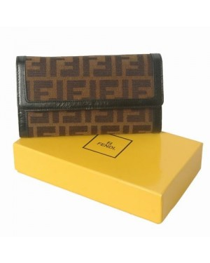 Fendi Black Oil Leather with F Fabric Long Wallet