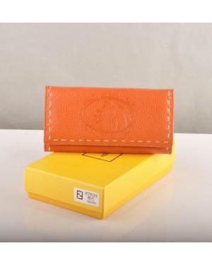 Fendi Orange Calfskin Leather Long Wallet