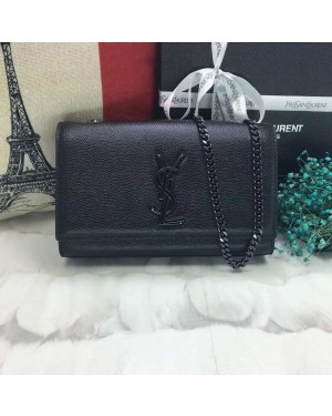 YSL Caviar Leather Chain Bag 22cm Black Black
